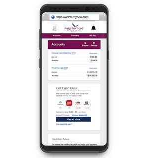 Mobile banking app on iphone