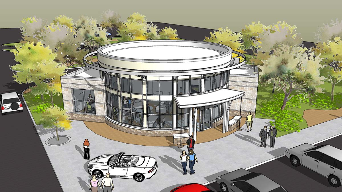 Building rendering of the new Neighborhood Credit Union branch