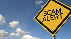 "Still image of a yellow road sign with the words ""Scam Alert"""
