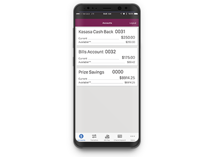 cell phone with checking account figures displayed on screen